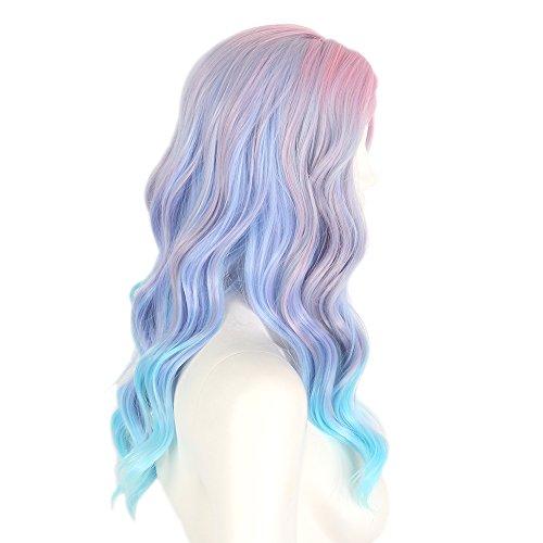 STfantasy blau lila Einhorn Ombre Perücke Pastell lang lockig für Frauen Fancy Kleid Sammler Lolita Haar (Kostüme Einer Rosa Perücke Mit)