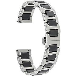 TRUMiRR 22mm Ceramic Watch Band Band Tous Les Liens amovible pour Samsung Gear 2 R380 R381 R382, Gear S3 Classic Frontier, Moto 360 2 46mm, Asus ZenWatch 1 2 Hommes, Pebble Time, LG Urbane W150