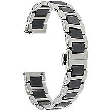 TRUMiRR 22mm Ceramic Watch Band Correa de liberación rápida Todos los enlaces Desmontable para Samsung Gear 2 R380 R381 R382, Gear S3 Clásico / Frontera, Moto 360 2 46mm, Asus ZenWatch 1 2 Hombres, Pebble Time, LG Urbane W150