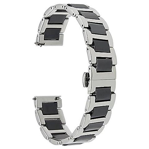 TRUMiRR 20mm Keramik-Uhrenarmband -Bügel Alle Links-Removable für Samsung Gear S2 Classic (SM-R732 / R735), Moto (20 Mm Ceramica)