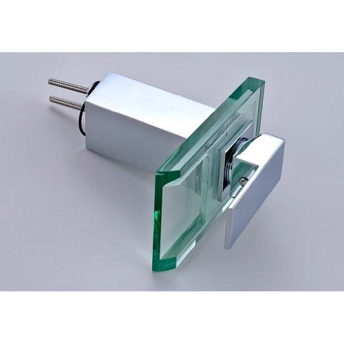 Auralum Kreativ LED Glas Wasserfall Wasserhahn Chrom Waschbeckenarmatur Waschtischarmatur Einhebelmischer 3 Farbewechsel Typ2 -
