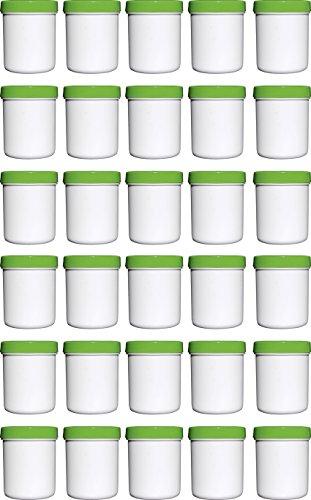 30 Salbendöschen, Creme-döschen, Salbenkruke hoch, 35ml Inhalt, mit grünem Deckel - MADE IN GERMANY