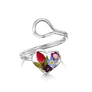 Shrieking Violet: verstellbarer Ring – Gemischte Blüten – Herz – 925 Sterling Silber – variable Größe