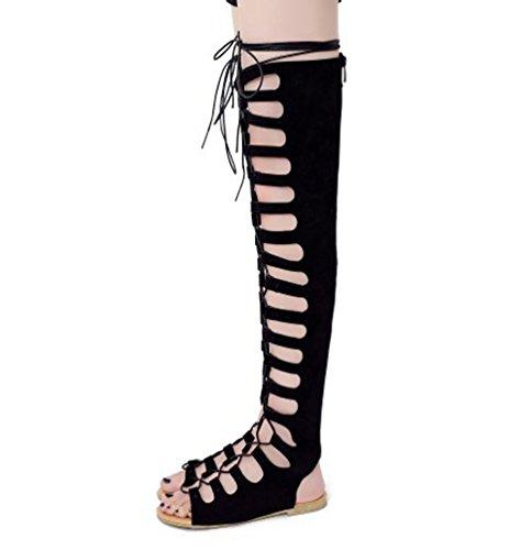 Sandalo Gladiatore Con Piatte Alti Strisce 3 Ete Ginocchio Youjia Stivali Romani Donne Nero Lacci v8q6FwxxWz