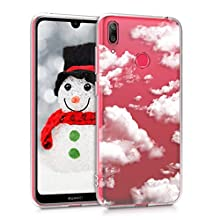 kwmobile Clear Case Compatible with Huawei Y7 (2019) / Y7 Prime (2019) - TPU Smartphone Backcover - Bunch of Clouds White/Transparent