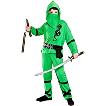 Boys Power Ninja Green Black Fancy Dress Up Party Costume Halloween Child Outfit