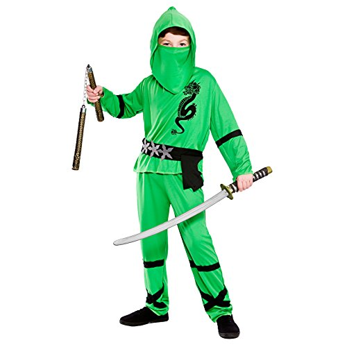 Green Power Ninja - Kids Costume 3 - 4 - Ninja Warrior Kind Kostüm