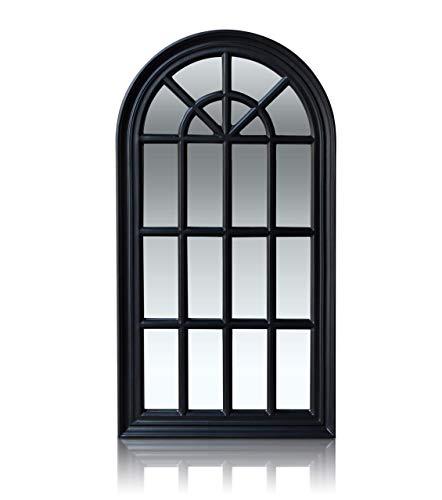 Antic von Casa Chic - Französischer Fensterspiegel - 46x86 cm - Fester Rahmen - Matt Schwarz