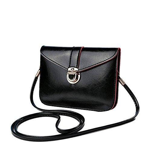 Damen Mini Handytasche Classic Handtasche PU Ledertasche Klein Umhängetasche (Schwarz)