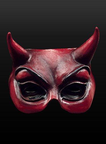 el mit Hörnern - Rot - Mephisto Teufelsmaske aus Latex (Latex Maske Teufel)
