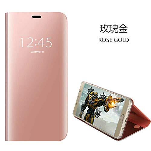 xinyunew Funda Galaxy S6 Edge Plus Carcase,+Protector de Pantalla Clear Standing Flip Case Caso Skin Espejo Estilo Libro Carcasa con óptica de Aluminio Cover Plegable en Reflectante Rose Oro