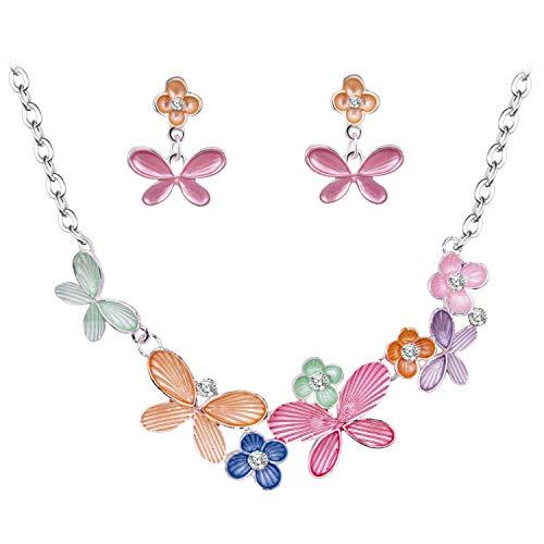 BiBeary Schmuckset Set für Damen bunt Blume Schmetterling Emaille Lackfarbe Kristall Braut Party elegant Halskette Ohrringe Silber-Ton