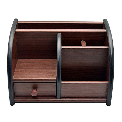 Shopo Polished Wooden Pen Stand Big Size with Drawer, Mobile Holder & Remote Stand for Office Desk, Table Accessories All in One Multipurpose Desk Organizer