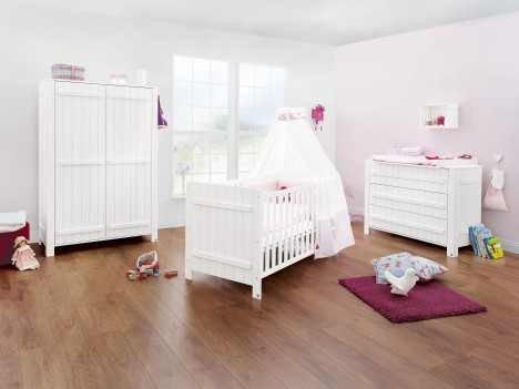 Kinderzimmer COUNTY breit, Fichte gebürstet weiß lasiert 3 teilig, Kinderbett, Wickelkommode, Kleiderschrank 2 türig Sparset