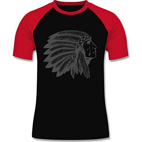 Shirtracer Boheme Look - Indianer Häuptling Handzeichnung - Herren Baseball Shirt Schwarz/Rot