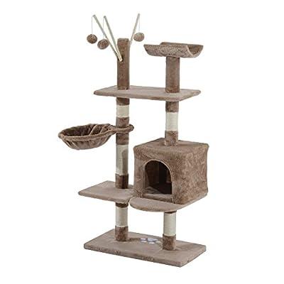 PawHut Cat Tree Kitten Activity Centre Scratch Scratching Scratcher Post Rest Bed Toy 135cm from MH STAR UK LTD