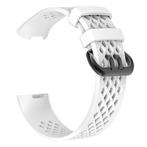 YouN Silikon-Armband mit porösem Armband für Fitbit Charge 3 (Weiß S)