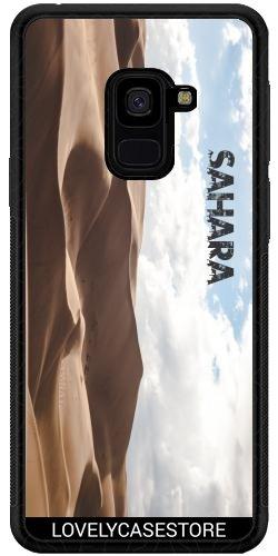 Lovelycasestore SilikonHülle für Samsung Galaxy A8 + 2018 (SM-A730) - Wüste Sahara Sky Blue Arid Dürre Düne Oase
