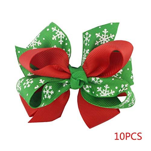 Vkospy 10PCS Delicated Grüne Schneeflocke Bowknot Weihnachtsmädchenhaarspange Infant Hairpin Bowtie Kinder Haarschmuck Kinder Bowties
