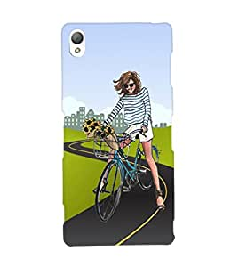 Fuson Cycling Girl Back Case Cover for SONY XPERIA Z3 - D4037
