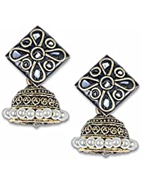 Anetra Chand Bali Earrings for Women (Black)(ads_021)