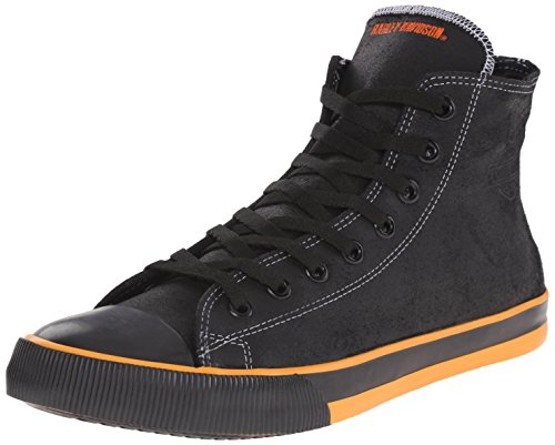 Harley Davidson Herren High Top Sneaker Schwarz, Black/Orange, 45 EU