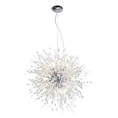Einfach Modern Pendelleuchte Deckenleuchte 9-Flammig Kristall Schneeflocke Kronleuchte Eisenkunst Romantische Löwenzahn Dekor Anhänger Hängelampe Wohnzimmer Schlafzimmer Esszimmer Chandelier Lampe G9 - Kristall-schneeflocke