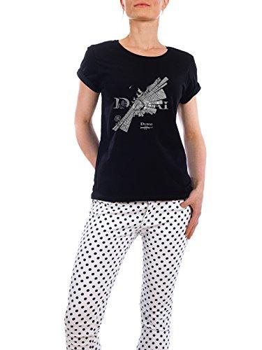"""Design T-Shirt Frauen Earth Positive """"Dubai dark"""" - stylisches Shirt Abstrakt Städte Kartografie Reise Architektur von ShirtUrbanization Schwarz"""