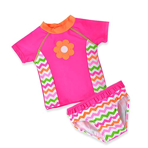 AFCITY Bikini de Dos Piezas para niñas, Niñas Niños 2pcs Traje de baño Rosa protección Solar Traje...