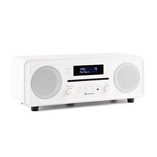 dual stereoanlage mit plattenspieler auna Melodia • Radiowecker • DAB+ Radio • MP3-fähiger CD-Player • Bluetooth • DAB+ / UKW-Tuner • Dual Alarm • Snooze • Fernbedienung • weiß