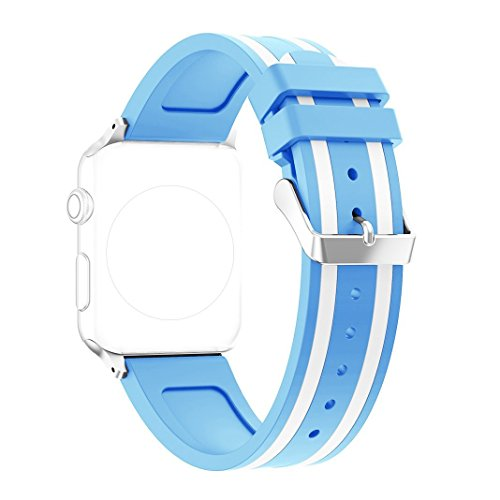 Replacement Apple Watch Band - Silicone Sport Straps Replacement Band with Classic Stainless Steel Buckle for Apple Watch 38mm Series 2 and series 1 (1 - Light Blue & White) (Stainless Steel Watch Band, White)