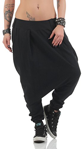 Malito Damen Haremshose mit tiefem Schritt | Jogginghose in Unifarben | Baggy zum Tanzen | Sweatpants - Aladinhose 91086 (schwarz)
