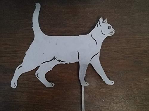 Gartendeko Fockbek Metallfigur Stecker Katze (laufend) Höhe ca. 30 cm Metallfigur Rostfigur Rost Gartenstecker