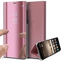 Uposao Handy Tasche Spiegel Xiaomi Redmi 5 Plus Handyhülle Luxus Mirror Case Flip Schutzhülle Clear View Tasche Brieftasche Flip Cover Lederhülle Ledertasche,Rose Gold