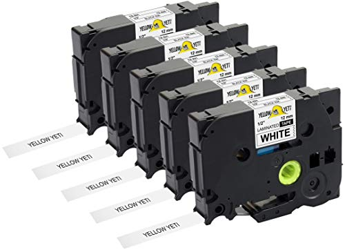 Yellow Yeti 5 Cassette Nastri Laminati TZe-231 TZ-231 nero su bianco 12mm x 8m Etichette compatibili per Etichettatrici Brother P-Touch PT-1000 PT-H100R PT-H100LB PT-H107B PT-H110 PT-D400 PT-D600VP