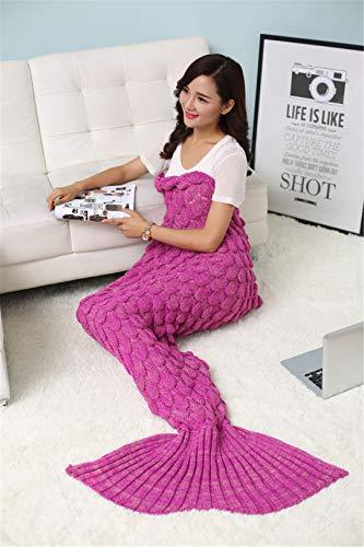 BFHLRDE Meerjungfrau Decke Mermaid Tail Wolle für Sofa Cover Trend Erwachsene Kinder Entspannen Schlafen Nap Bunte Decken Rose Pink 180 80cm