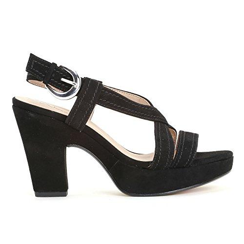 ALESYA by Scarpe&Scarpe - Sandalen mit Absatz, Überkreuz-Detail und Plateausohle, Leder, mit Absätzen 9 cm Schwarz