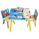 WOLTU SG003 3tlg. Kindersitzgruppe Kindertisch mit 2 Stühle Sitzgruppe für Kinder Vorschüler Kindermöbel Ozean bedrukte Kindertisch Set