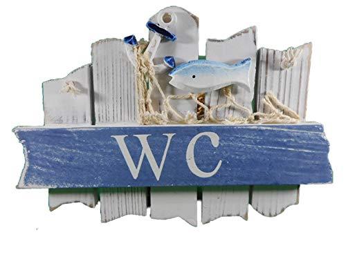 WC Toiletten Schild 18 cm See Fisch Anker Hafen Maritim Wohnen Deko GRF 39.0901