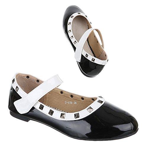 Chaussures pour enfants, Z de 616, Ballerines Chaussures basses avec rivets Noir - Schwarz Weiß