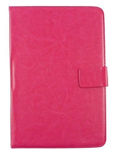 Emartbuy® Zync Z900 Plus Quad Core 3G Calling Tablet 7 Inch Universal Range Hot Pink Plain Multi Angle Executive Folio Wallet Case Cover With Card Slots + Stylus