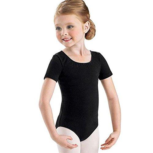 Kinder Ballett Body mit kurzem Arm und rundem Halsausschnitt Schwarz