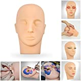 CoastaCloud Eyelashes Makeup Head Massage Practice Cosmetology Manikin Mannequin Training Head Face Painting Head Soft Skin Make Up Doll
