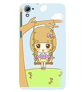 Printvisa Premium Back Cover Animated Sweet Girl On A Hammock Design For HTC Desire 826::HTC Desire 826 Dual