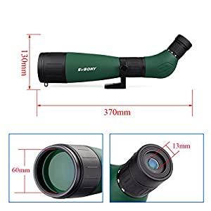Svbony SV18 Spotting Scope 20-60x60 Portable Lightweight Angled BK7 Telescope Spotting Scope with Phone Adapter for Birdwatching