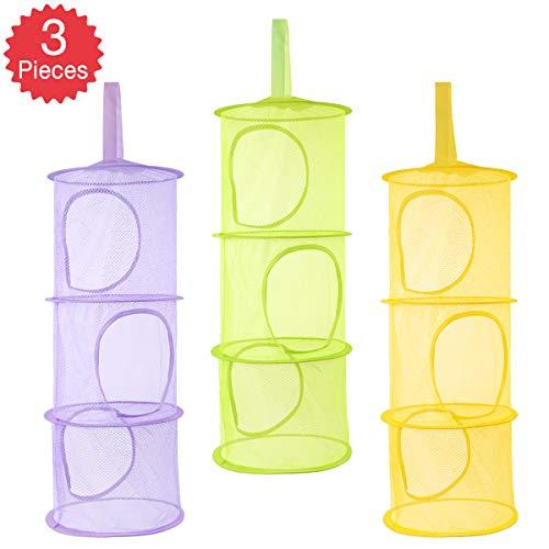 Heatigo 3PC hängen Mesh Ablagekorb kleine Spielzeugkiste, 3 Tier Faltbare Netzwerk Spielzeug Aufbewahrungstasche Korb, kleine Kleidung, Kindertagsgeschenk (gelb, grün, blau)