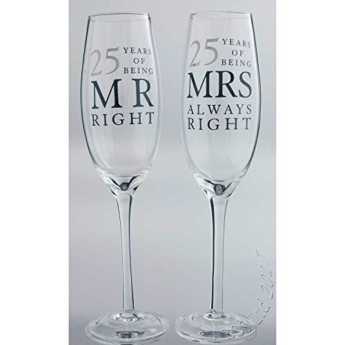 (Set von 2Happy 25th Jahrestag Hochzeit Glas Champagner Flöten In Geschenkbox)