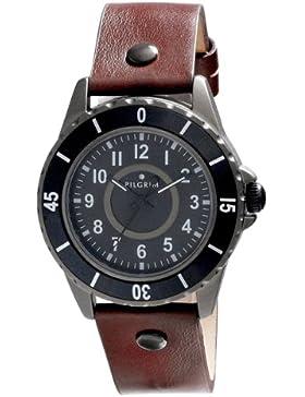 Pilgrim Herren-Armbanduhr XL Analog Quarz Leder 701343501