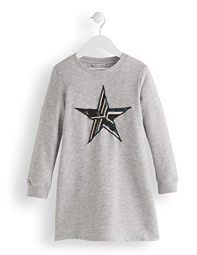 RED WAGON Star Sequin Robe Fille, Gris (Grey), 122 (Taille Fabricant: 7)