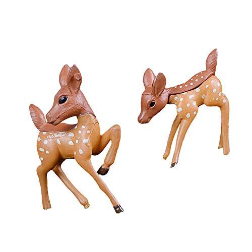 little finger Gartendeko, Miniatur-REH Dekor, 1/2 Stück, künstliche Hirschfigur, Modell Folk Craft Miniatur Landschafts- und Gartendekoration, Zufällige Farbauswahl, 2Pcs -